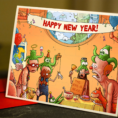New Years Party Card Illustration Print