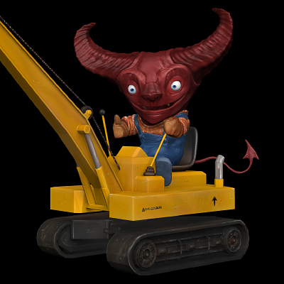 Demon 3D Illustration Crane