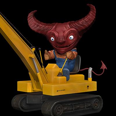 Demon 3D Illustration Crane